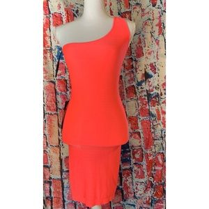 Bebe One Shoulder Bodycon Dress Medium Coral